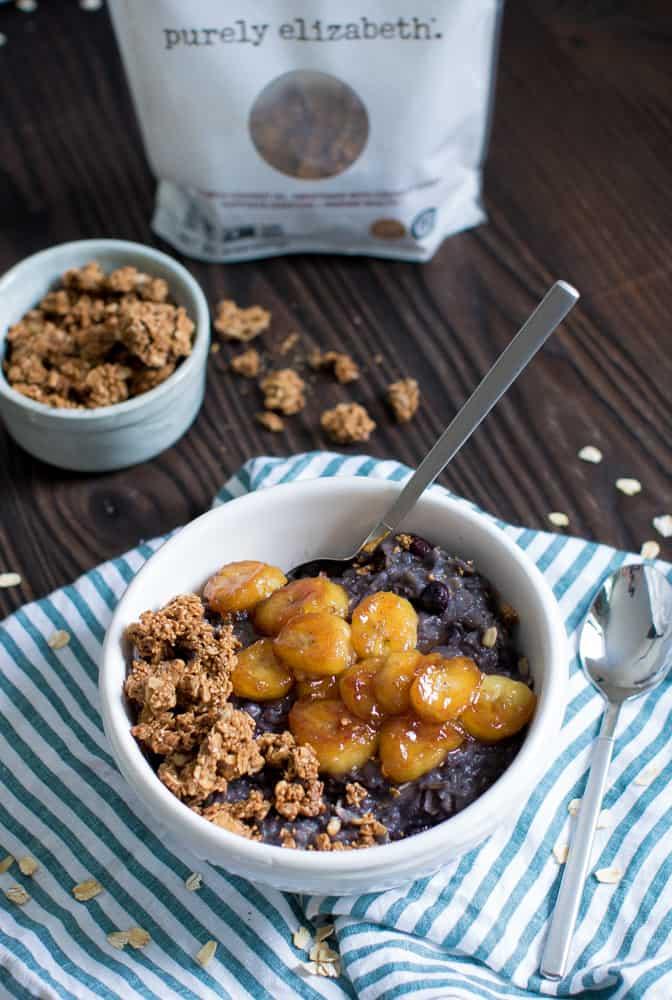Vegan Blueberry Oatmeal + Caramelized Bananas