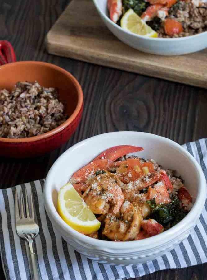 Brown Butter Lobster, Shrimp, Crispy Kale + Wild Rice Bowl