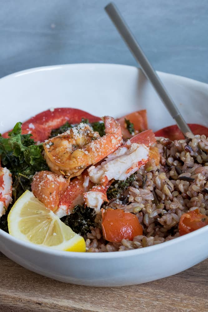 Brown Butter Lobster, Shrimp, Crispy Kale + Wild Rice