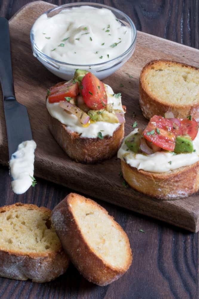 Vegan Tomato Avocado 'Cream Cheese' Bruschetta