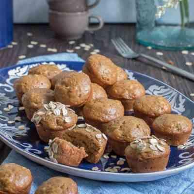 Vegan Banana Oatmeal SunButter Mini Muffins