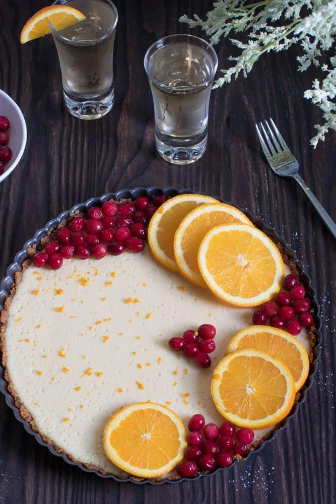 Cheesecake Tart with Orange + Cranberries