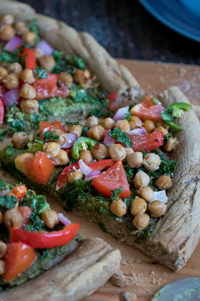 Buckwheat Veggie Pizza with Chickpea + Kale Pesto Sauce