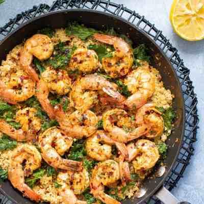 Spicy Cajun Shrimp, Kale + Cauliflower Rice