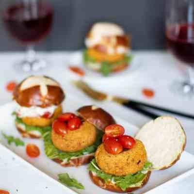 Easy Chickpea Sweet Potato Sliders + Aioli