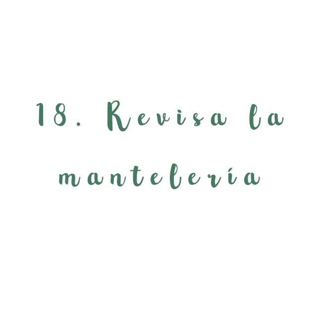 18. Revisa la mantelería