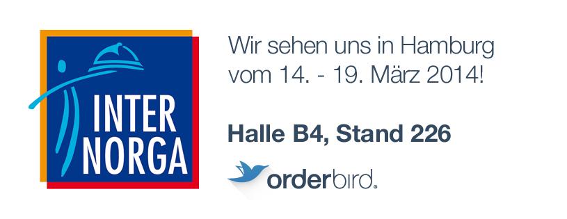 orderbird goes INTERNORGA. Auch 2014 ist orderbird Aussteller auf der INTERNORGA, der Leitmesse für den Außer-Haus-Markt. Vom 14. - 19. März können Besucher das Nr. 1 iPad-Kassensystem für die Gastronomie live und in Farbe erleben.