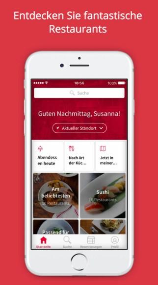 Screenshot von opentable, eine App für die Gastronomie