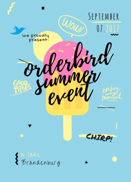 Plakat zum Teamevent von orderbird: ein Stieleis vor hellblauem Hintergrund