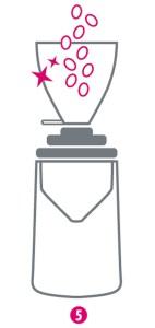 Grafische Darstellung für fünften Schritt der Reinigung einer Kaffeemühle