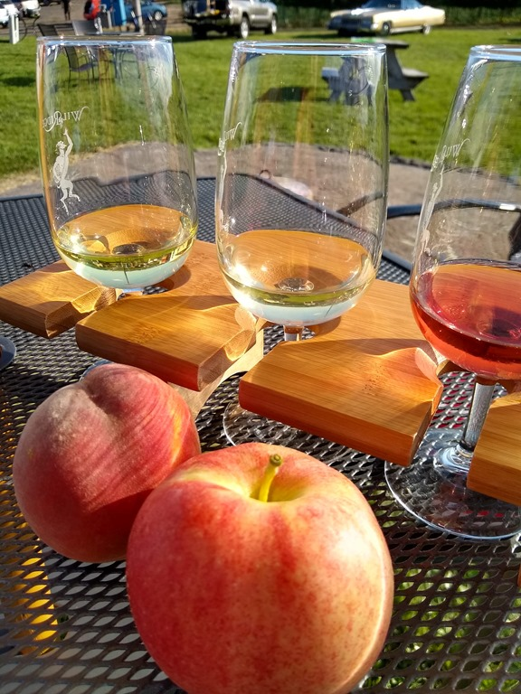 Peach and apple and wine glasses