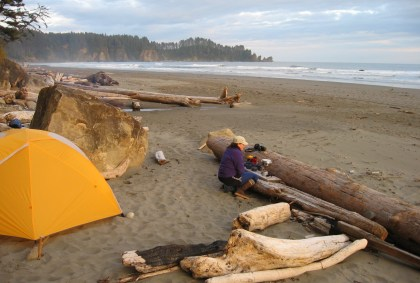 Woman using a camp stove on the beach next to a yellow tent, driftwood and evergreen trees