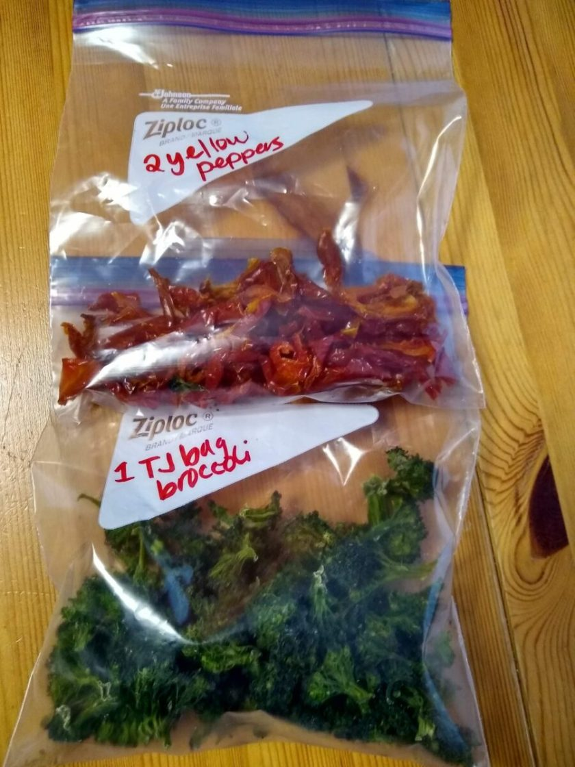 Two bags of dehydrated vegetables ready for storage