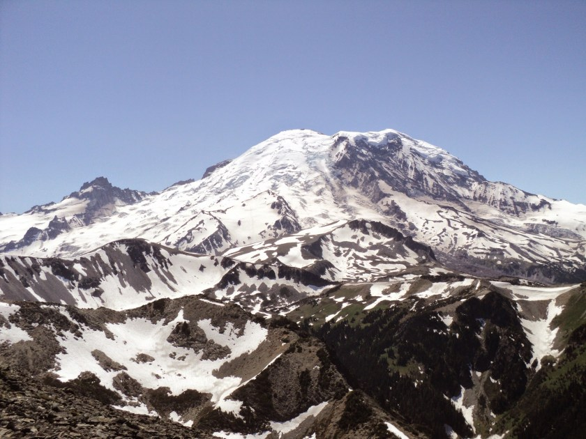 A view of Mt Rainier from the Mt Fremont hike on a clear day