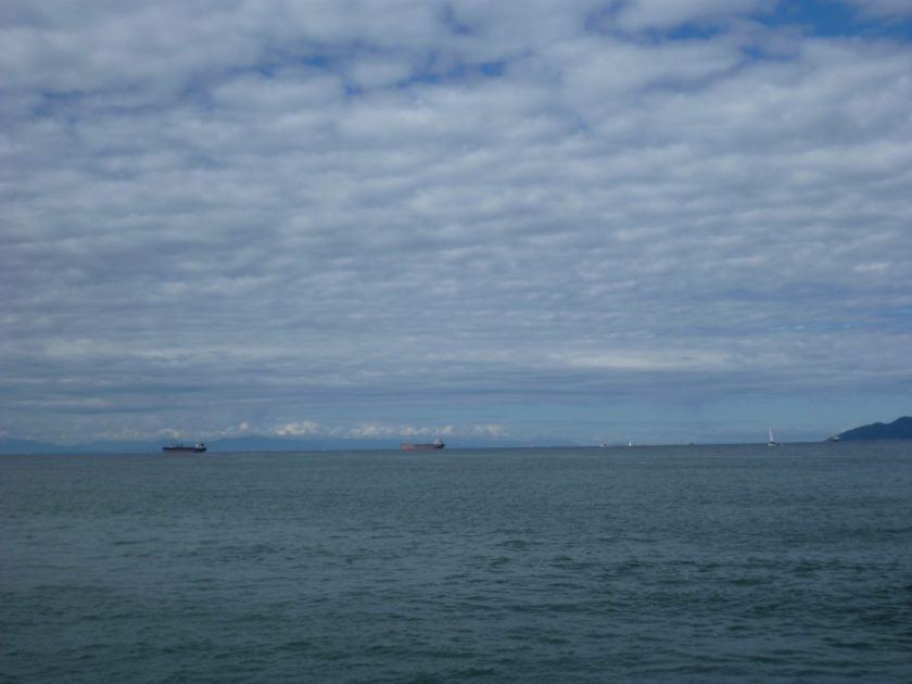 Two container ships are anchored off the coast. Their are puffy white clouds and forested hillsides in the distance.