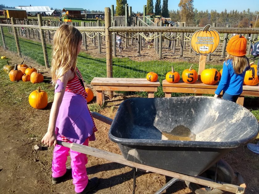 Two girls looking away from the camera towards a rope maze. One of the girls is wearing an orange hat, the other is holding a wheelbarrow.