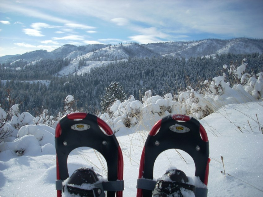 Two snowshoes in the foreground with a snowy landscape in the background. There are snow covered forested hills in the background and a blue sky