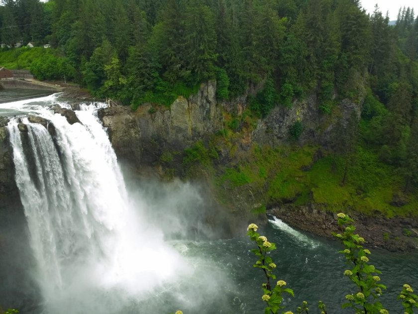 One of the best waterfall hikes near Seattle, Snoqualmie Falls plunges over a rock wall near the Snoqualmie Falls lodge