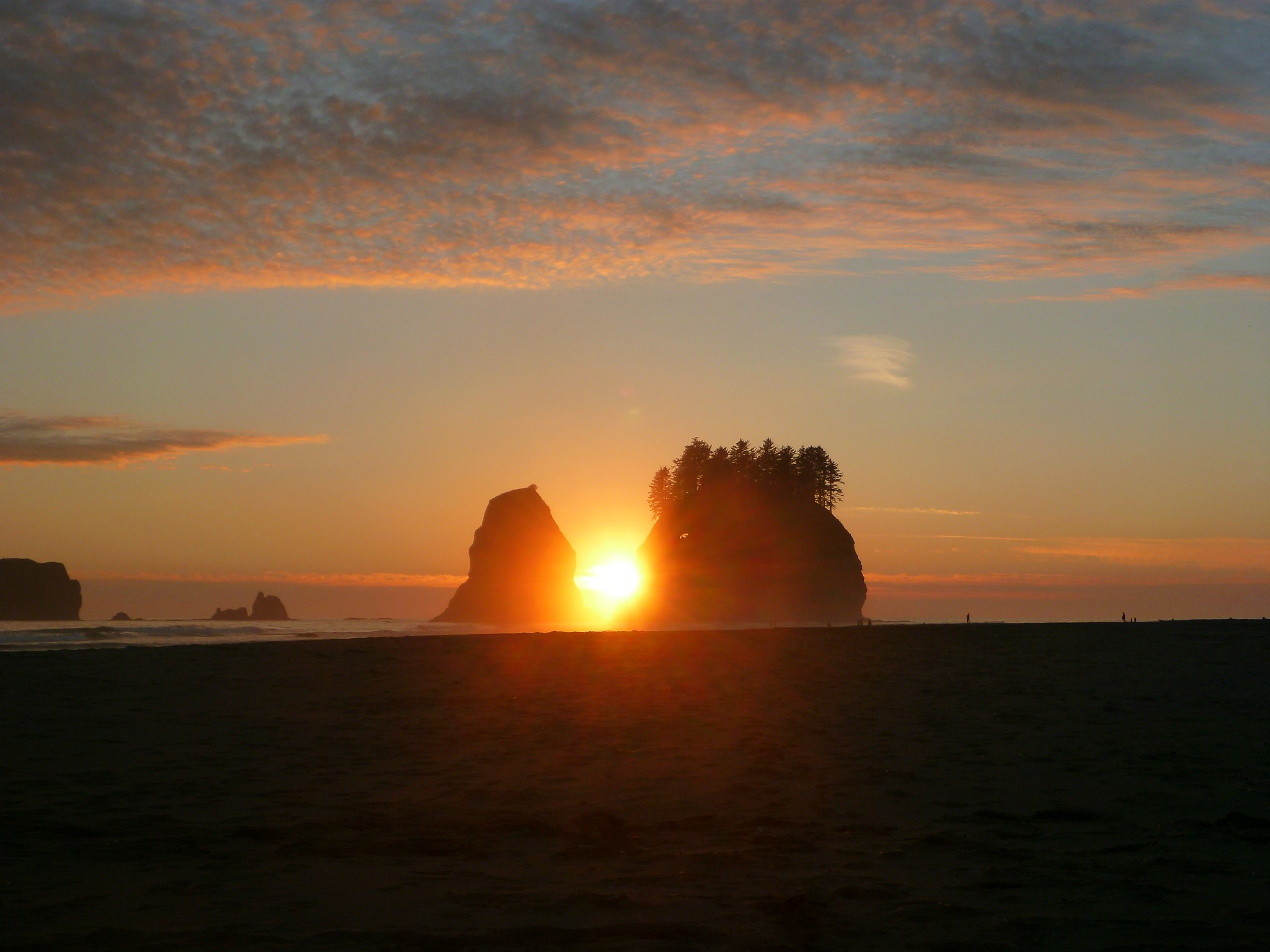 A highlight of Olympic Coast backpacking is the spectacular sunsets. Here the sun sets between two sea stacks off the coast. There a a few clouds lined with pink