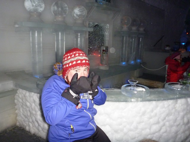 You can visit the Ice museum at Chena Hot springs year round, but it's extra fun in winter. In the ice museum you can enjoy a drink in an ice martini glass in an ice bar!