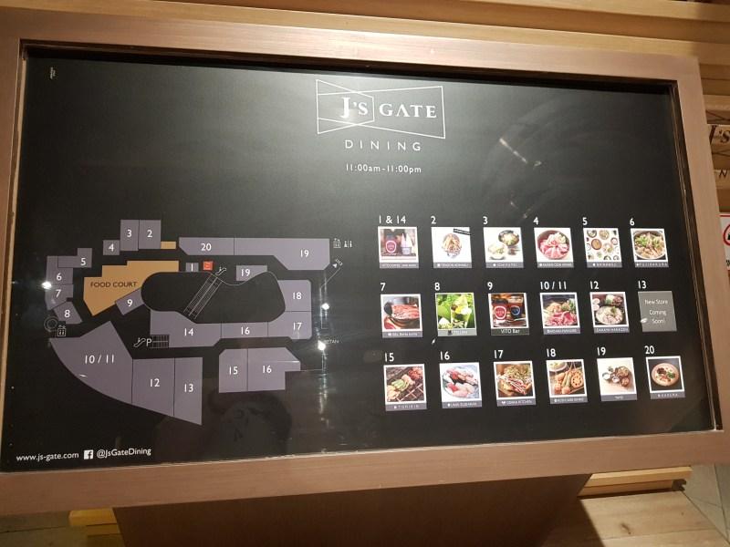 j's gate list of restaurants - lot 10