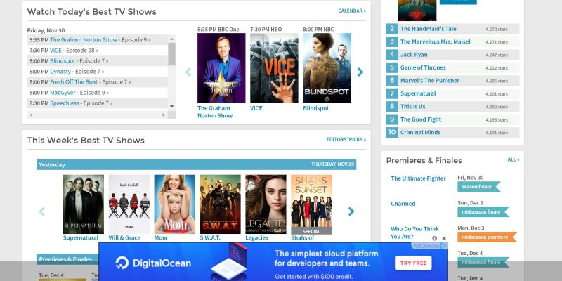 sidereel - best websites to watch free tv shows