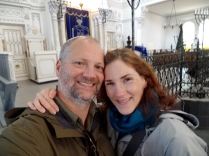 Visiting the Brasov Synagogue.  Tom has a yarmulke on, but you sadly can't see it in the photo.