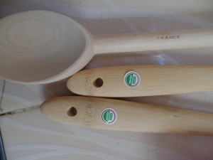 Two organic bamboo spoons and one from France!  Moroccan cooking will be even better now that I have these.