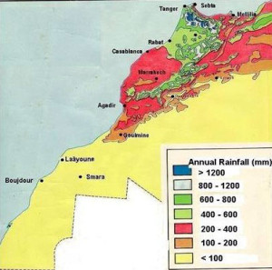 Average annual rainfall in Morocco.