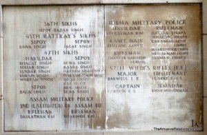 Plaque commemorating Sikh and Burmese soldiers