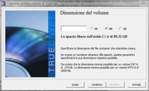 TrueCrypt: Dimensione file