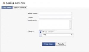 Facebook: creare nuovo album fotografico