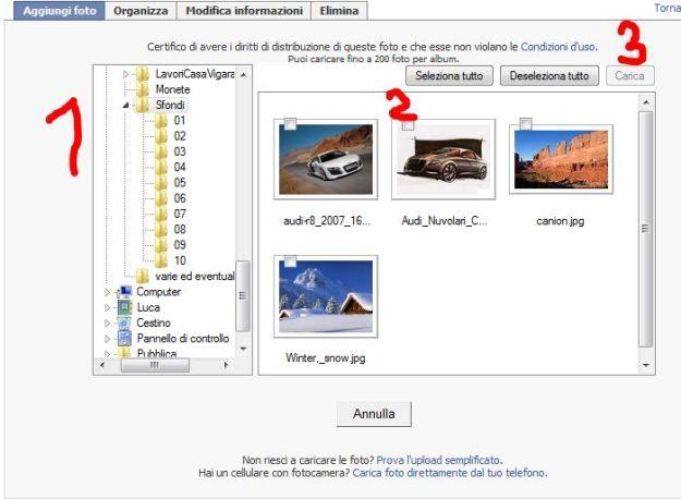 Facebook: interfaccia upload immagini
