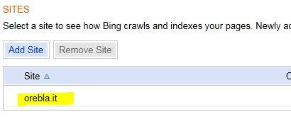 Bing inserire sitemap