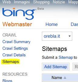 Bing inserire sitemap3