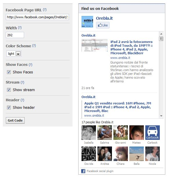 Facebook LikeBox