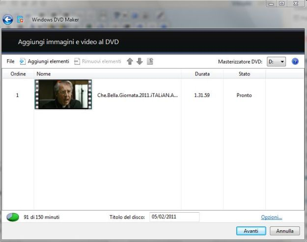 Windows DVD Maker Inserire il video