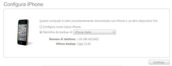 Backup iTunes ripristino