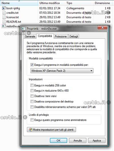 Redsn0w in modalità compatibilità Windows XP SP2