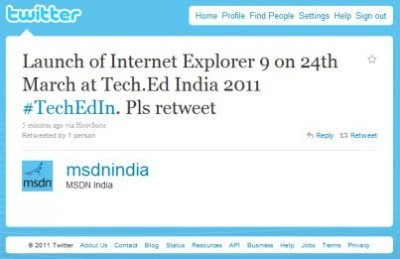 MSDN India Annuncia IE 9