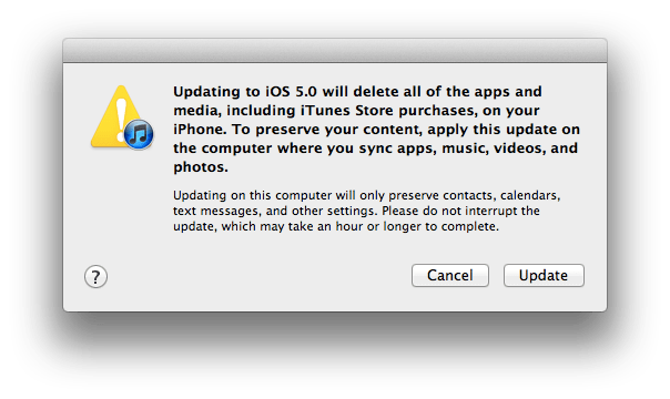iOS 5 aggiornamento con cancellazione?