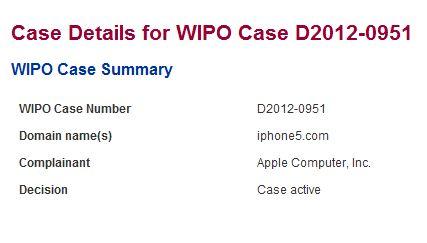 WIPO: richiesta Apple per il dominio iphone5.com