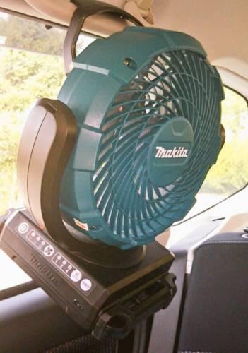 マキタ扇風機 車内で使用