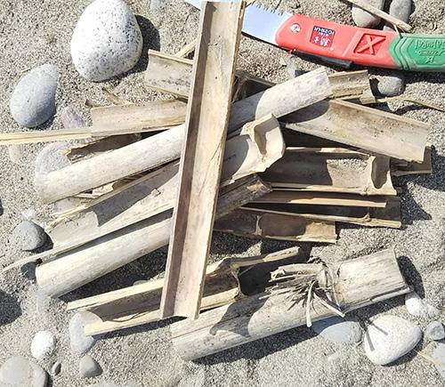 竹を薪として使う