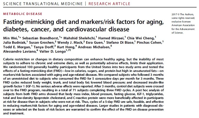 Scientifically-designed fasting diet reduces risks for aging diseases