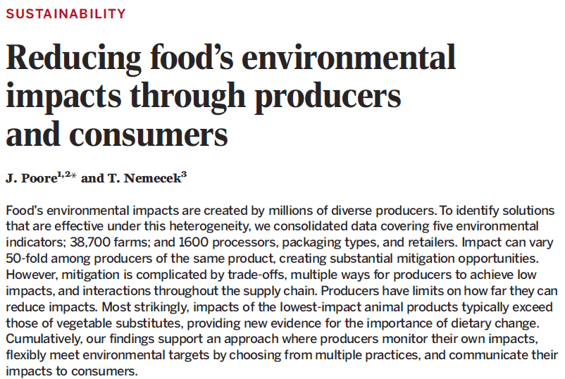 Analysis of environmental data strengthens the case for plant-based diets