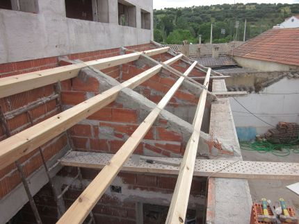 The beams for the roof