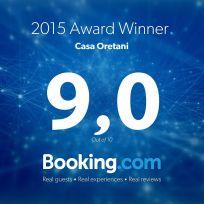 Casa Oretani 9,0 Award from Booking.com