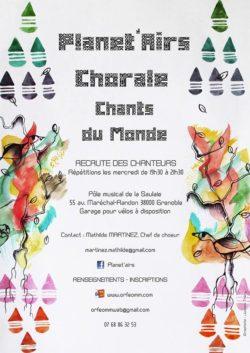 LA CHORALE PLANET'AIRS RECRUTE DES CHANTEURS