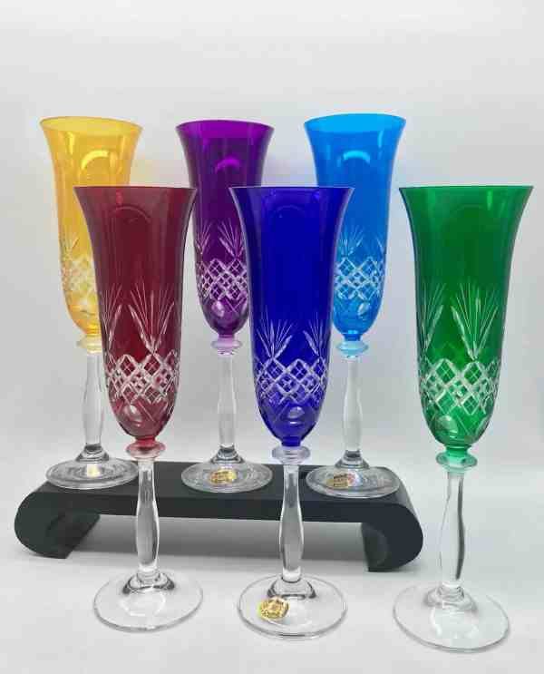 flutes champagne cristal coloré